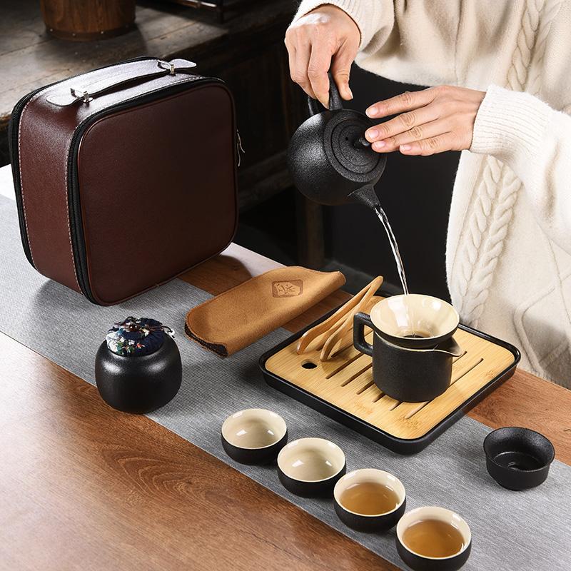 黑陶便携旅行茶具套装 车载户外小套功夫茶具收纳包简约礼品定制
