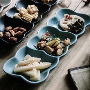 陶瓷三格純白創意分隔盤子北歐餐盤點心三連涼菜碟子壽司小吃拼盤