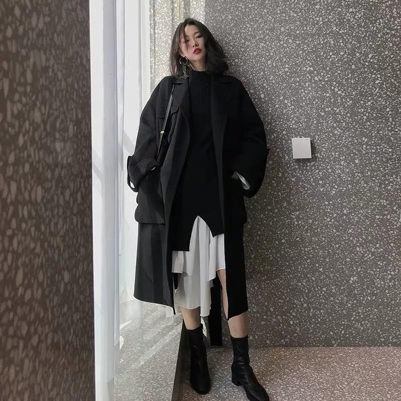 满240元可用45元优惠券欧洲站秋装法式新款假两件显瘦显高气质长裙不规则打底针织连衣裙