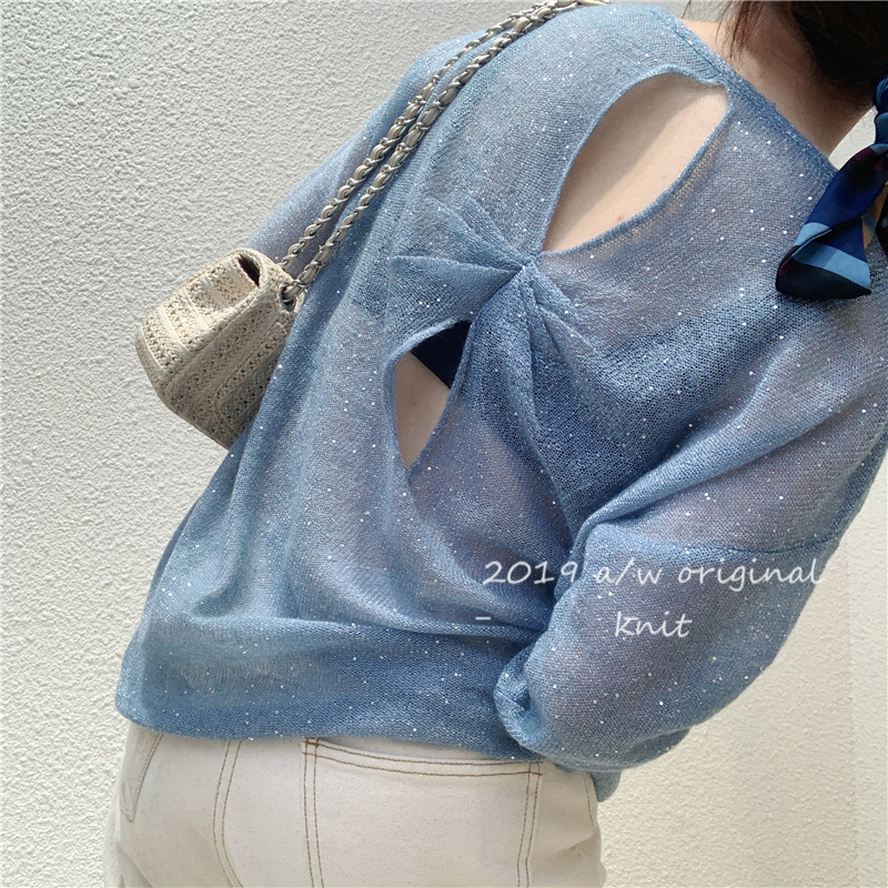2019 new Mohair hollow Slouchy Crew Neck Sweater loose Sequin open back blended T-shirt ultra thin women