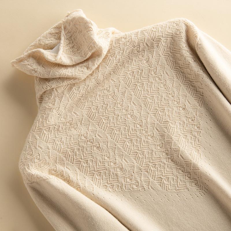 镂空高领毛衣女套头宽松加厚春秋冬季新款韩版针织衫短款打底衫