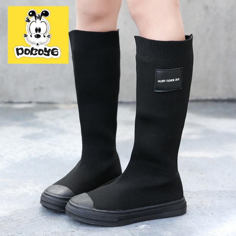 女童靴子2021春秋新款儿童长筒靴英伦风加绒宝宝针织弹力单靴洋气