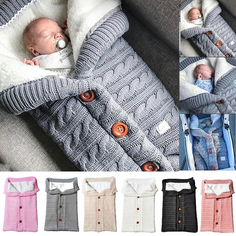 European and American autumn and winter towel baby stroller sleeping bag outdoor button knitted sleeping bag babys wool Plush thickened quilt