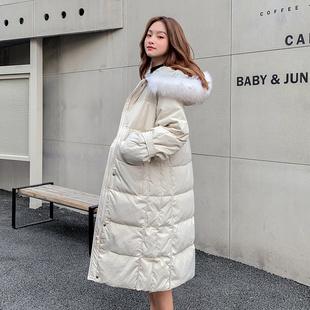 X.Z.U2019新款爆款韩版毛领羽绒服女中长款加厚宽松过膝外套