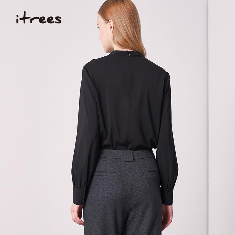Itrees Yi Shu womens Ruffle shirt spring and autumn retro half high neck Pleated Chiffon shirt womens i20cc362