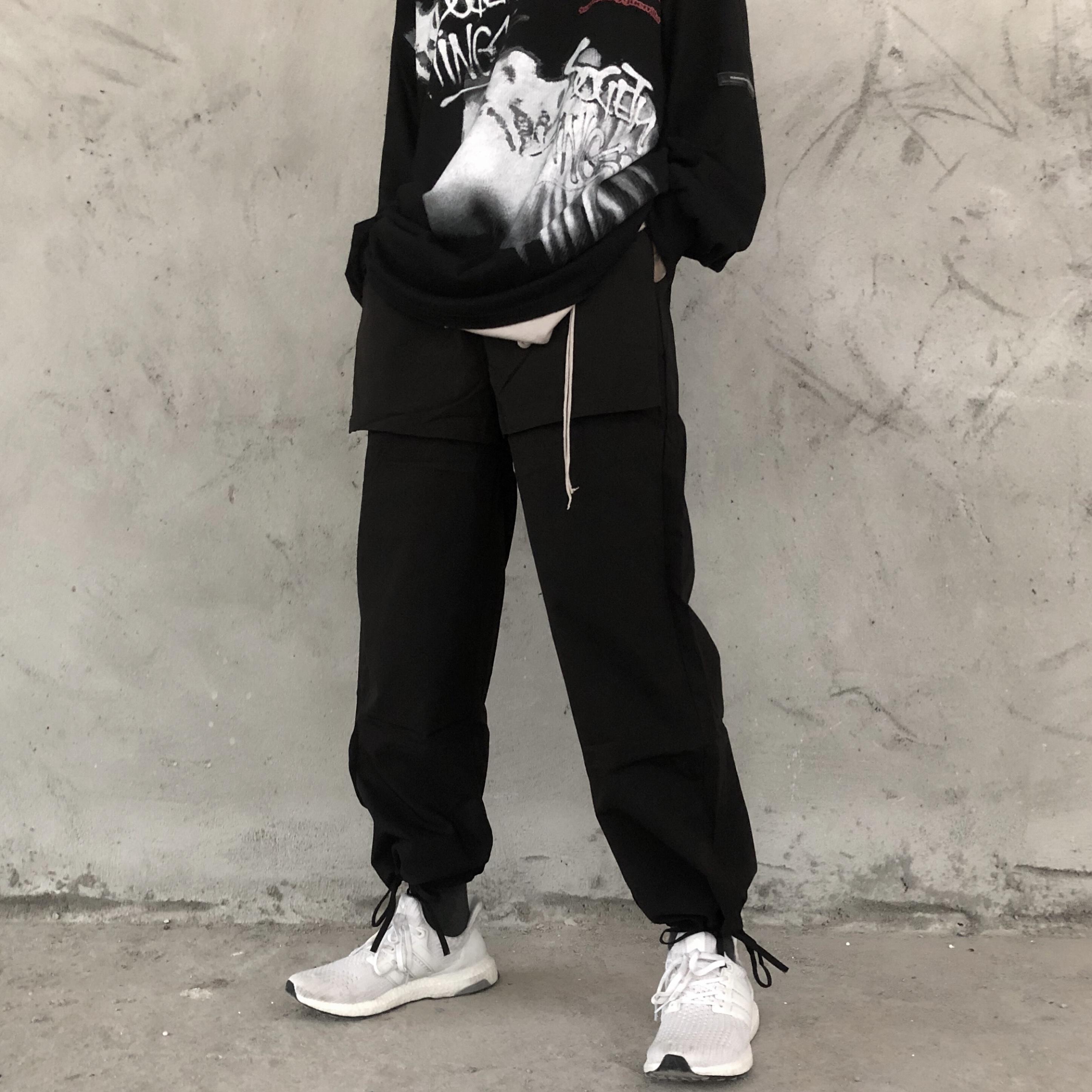 热销39件五折促销A chock 国潮街头嘻哈抽绳束脚裤男反穿设计直筒宽松口袋工装裤潮