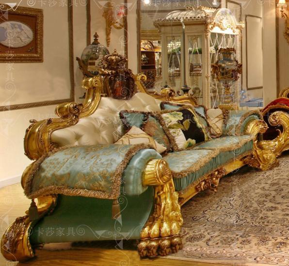 限4000张券欧式布艺沙发组合法式全实木雕花大户型沙发别墅客厅金箔沙发定制