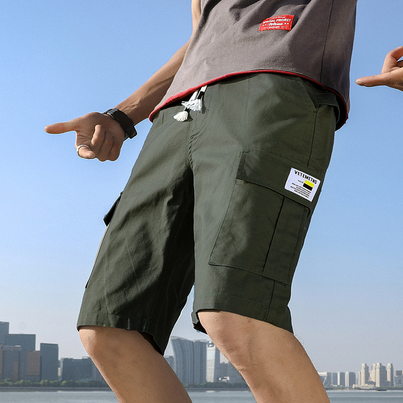 旗卡图海贼王夏季嘻哈工装短裤五分裤男牛仔宽松ins百搭休闲情侣