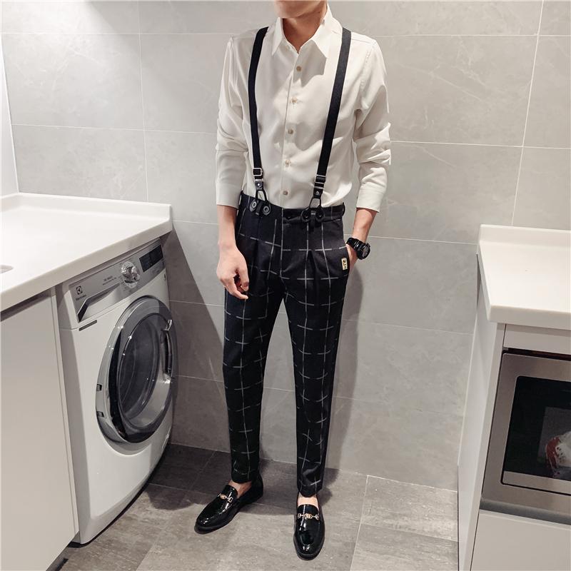 2019秋季新款韩版潮流男休闲裤可拆卸背带裤格子直筒裤子长裤P70