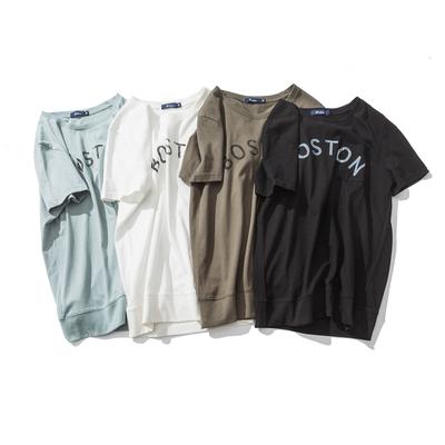 欧美风 Boston 做旧印花 罗纹下摆 纯棉圆领T恤 四色 T006-40