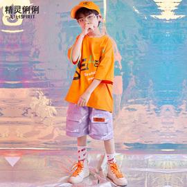 儿童嘻哈街舞套装夏男童hiphop爵士舞潮装少儿宽松短袖六一演出服图片