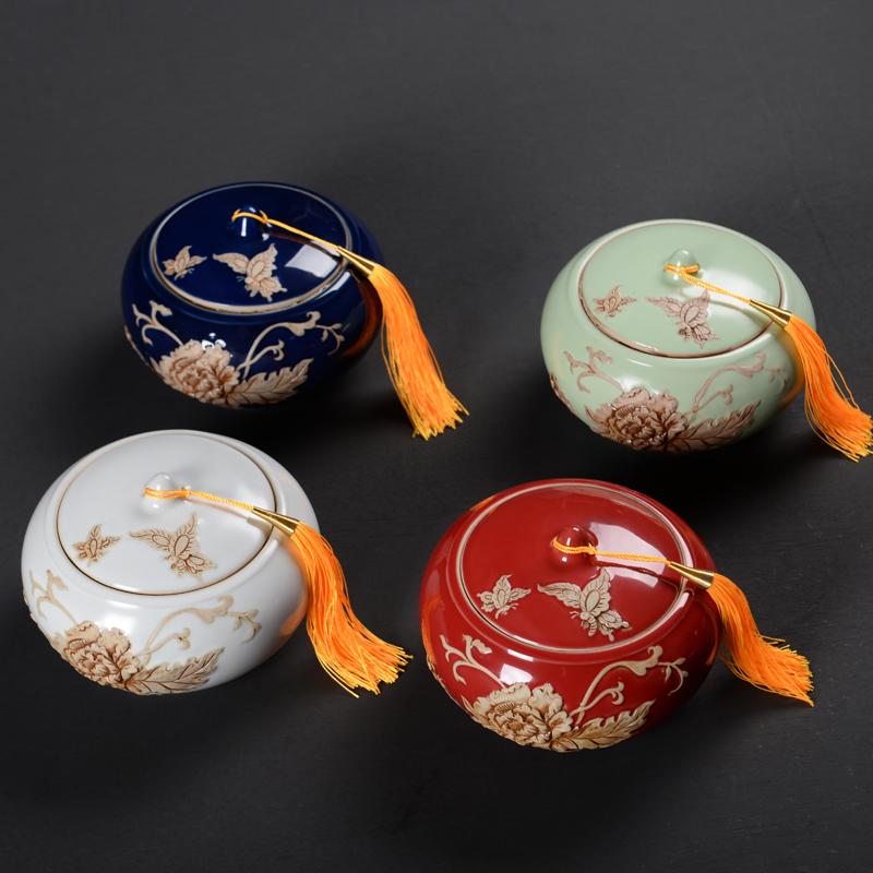 汝窑大中小号流苏中国风复古茶叶罐