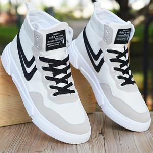 2021新款夏季韩版春季高帮男鞋男士休闲帆布鞋青少年内增高板鞋子