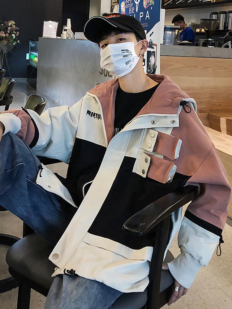 男装秋季工装外套男潮韩版宽松bf风铆钉设计拼色连帽夹克上衣