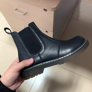 自然卷2020秋冬新款真皮切尔西软皮短靴女显腿瘦脚小版型软底靴子