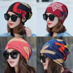 帽子女秋冬月子帽包头帽时尚套头帽韩版潮头巾帽多用围脖睡帽双层