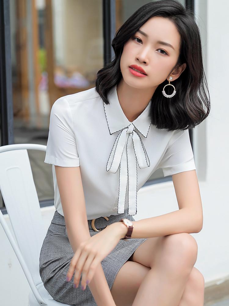 迪乐町白色衬衫女职业装气质休闲2019夏季新款雪纺蝴蝶结系带小香