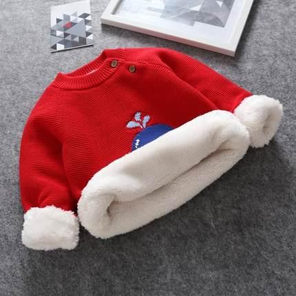 秋冬宝宝毛衣加绒加厚衫婴儿全棉毛线男女儿童套头圆领
