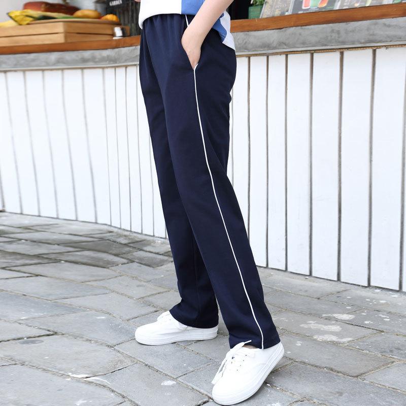 校裤男女运动裤高中学生秋季裤子一条杠直筒长裤初高中冬季校服裤