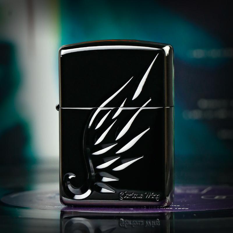 正品zippo煤油打火机 日版黑冰天使之翼黑色翅膀 收藏级正版 男士