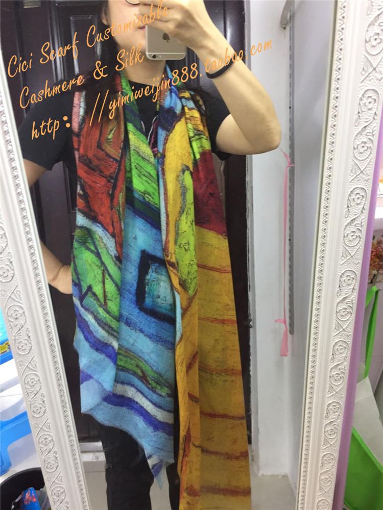 春秋款羊绒围巾女 薄款旅游防晒披肩 办公室油画民族风格披肩