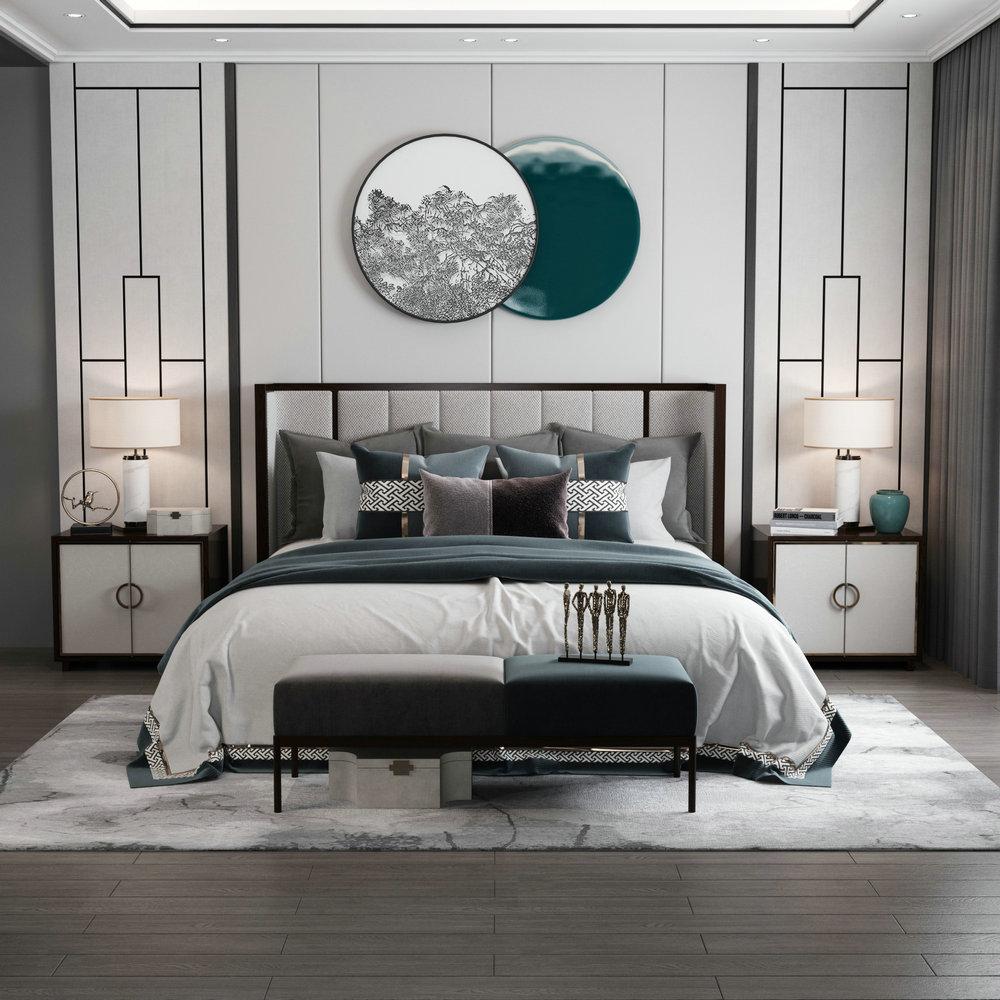 新中国式の木造ベッドは現代簡単で約1.8メートルの結婚ベッドの主なベッドは軽奢で、1.5メートルの布芸ダブルベッドの家具はカスタマイズします。