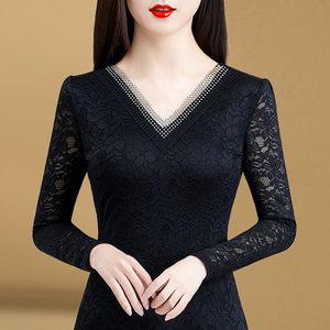 初秋蕾丝衫薄款上衣女长袖韩版2020新款V领女高档小衫洋气打底衫