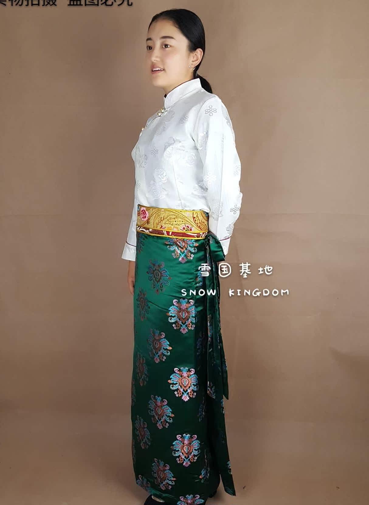 苏拉克夏西藏女士绸缎锅庄表演舞蹈藏族藏裙藏装西藏藏式裙子藏袍
