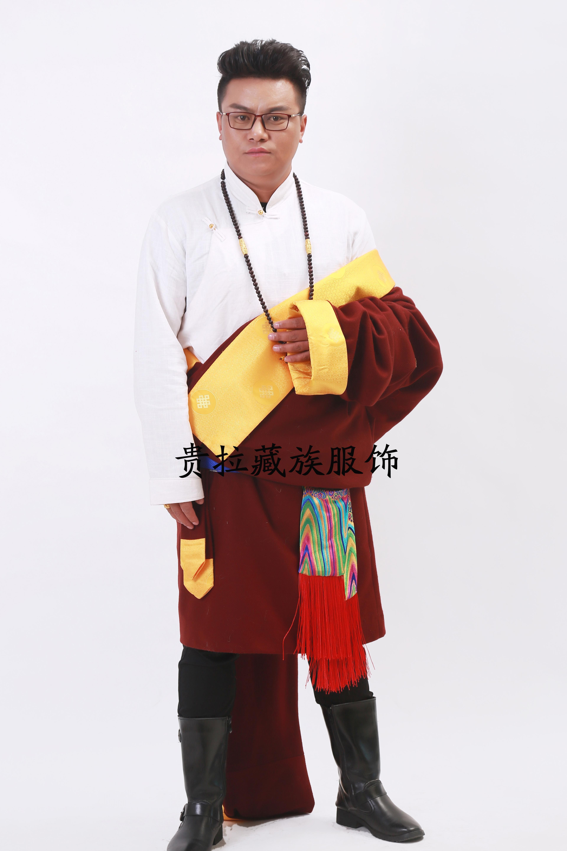 苏拉克夏西藏藏族服装品新款男装毛呢料子藏袍单层藏装