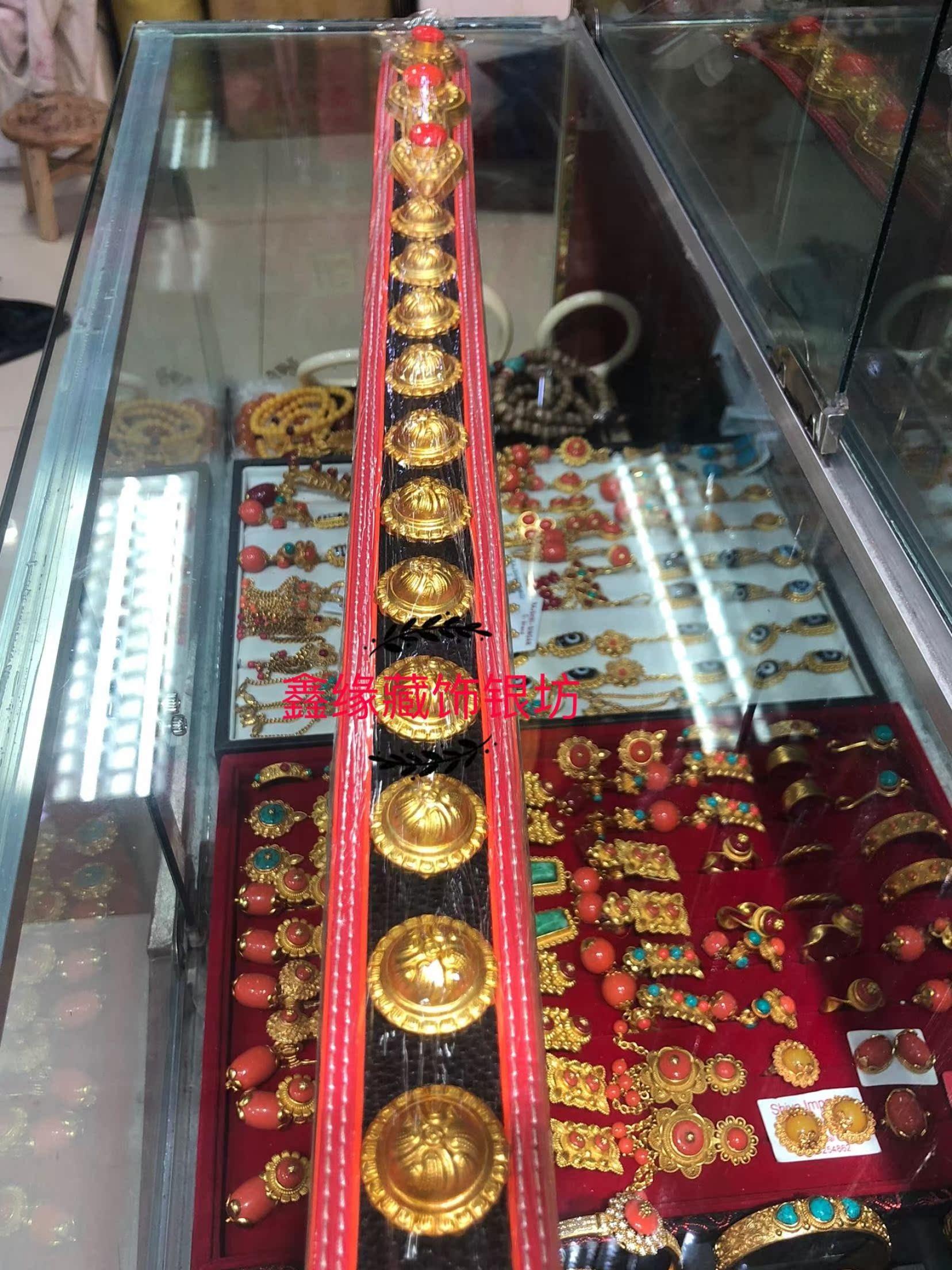 苏拉克夏尼泊尔传统藏式精品纯手工黄铜镀金藏族藏式腰间配饰腰带