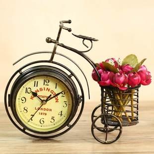 座钟座台钟家用小客厅时钟表家庭双面时钟桌面田园铁艺台式钟复古