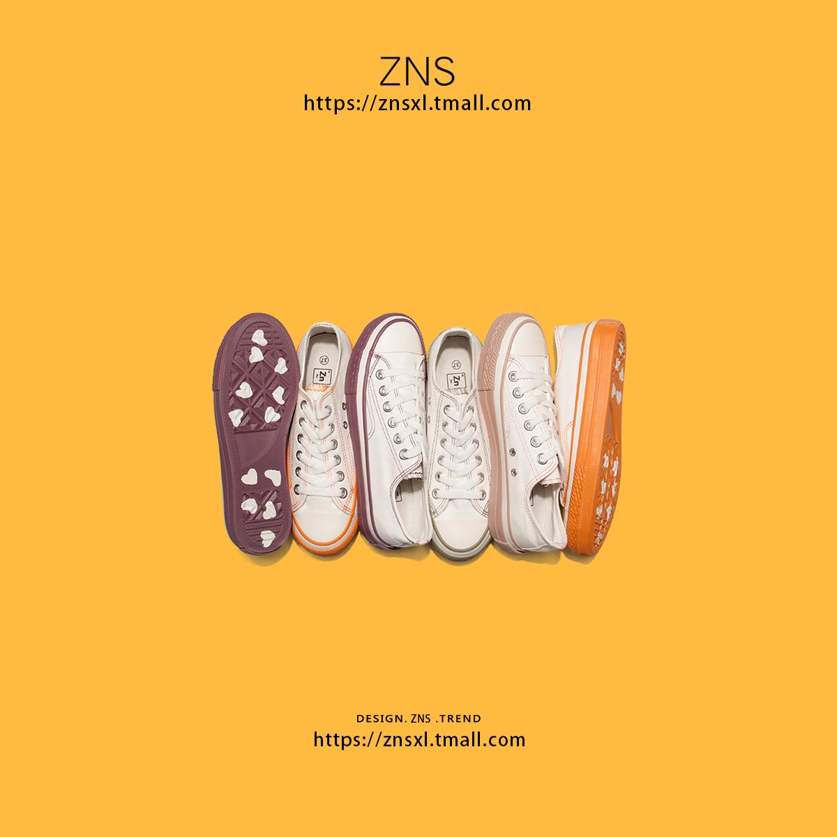 ZNS泫雅风鞋子 网红鞋子女2019潮鞋饼干帆布鞋小白鞋 运动鞋女