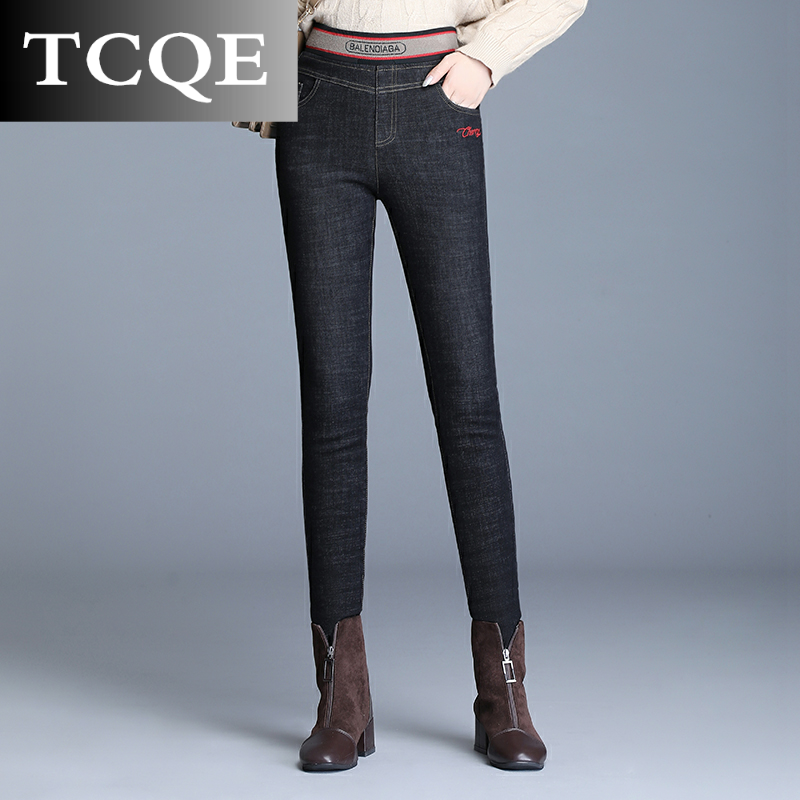 Tcqe thickened denim cashmere pants for womens pants, wearing 2020 new high waist cotton pants, showing thin and cashmere, keeping warm in winter