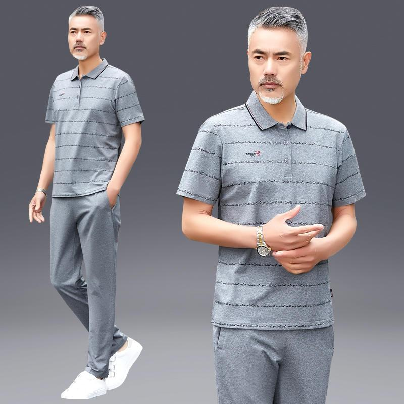 Authentic aoan treading snow official website T-shirt for middle and old age mens Short Sleeve Polo Shirt New summer sports suit wide