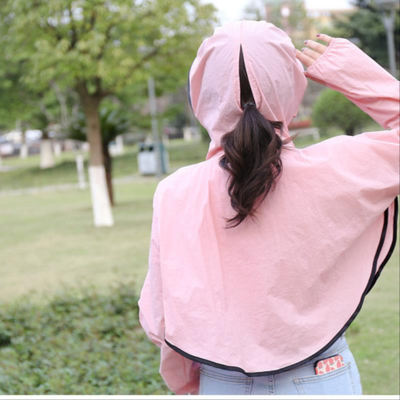 Summer cycling sun proof clothes women summer outdoor air permeability large cotton long sleeve short loose coat sunshade Hoodie