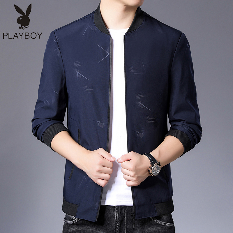 Playboy spring and autumn new mens coat thin Korean fashion business casual mens stand collar jacket