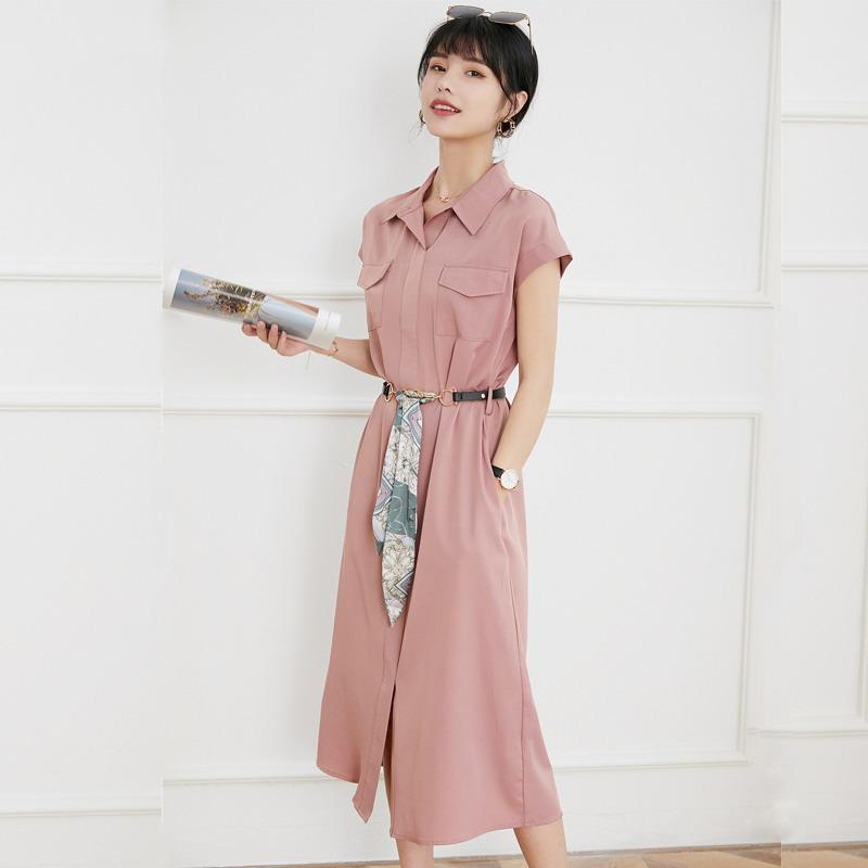 夏季新款气质OL翻领单排扣插肩袖纯色简约长款过膝开叉衬衫连衣裙