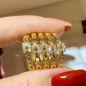 18K黄金钻石时尚女戒百搭简单戒指女小清新几何链条设计钻