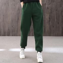 【绿素棉】新品系带松紧腰纯色卫裤