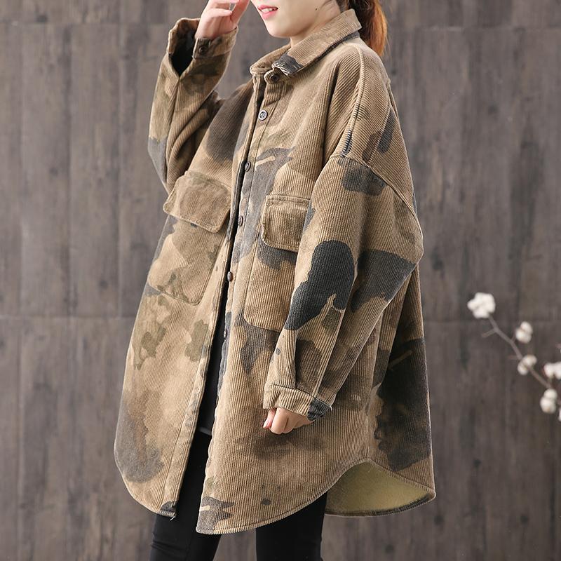【绿素棉】复古迷彩印花外套加厚棉衣