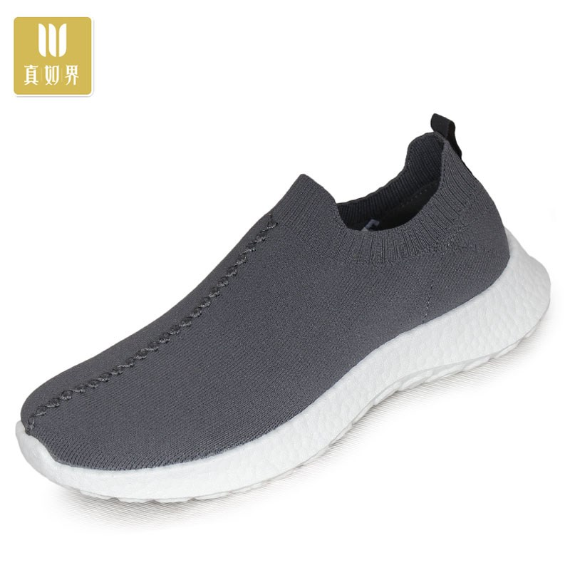 Spring and autumn monk shoes mens Popcorn thick soled monk shoes sports Zen monk soft soled flying woven elastic cloth shoes