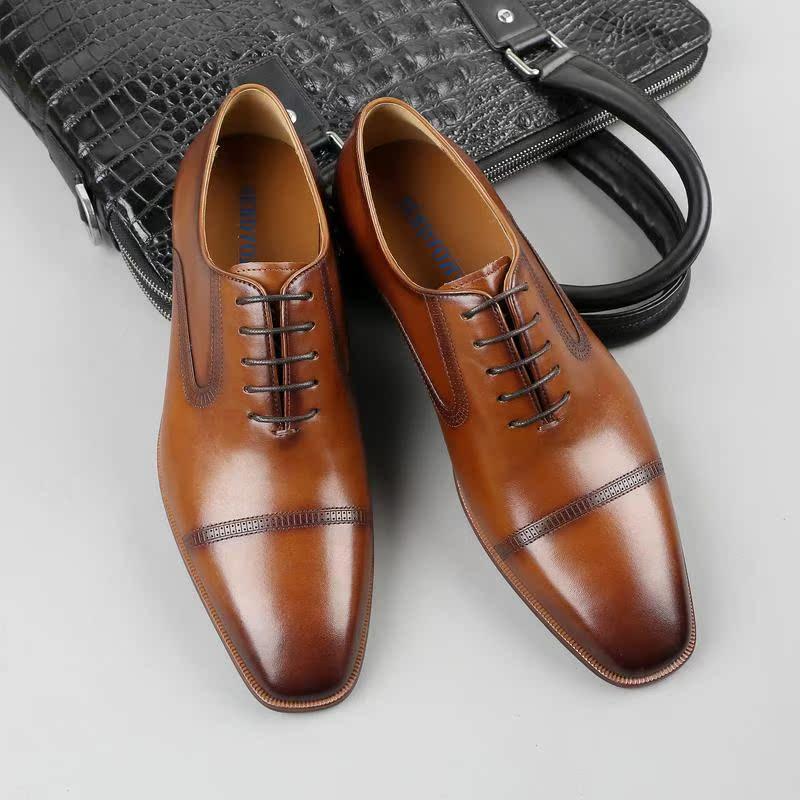 正品新款真皮英伦商务正装男士皮鞋尖头德比鞋男透气结婚鞋牛皮男