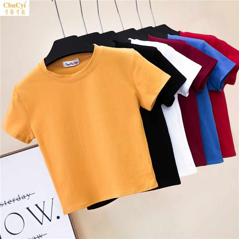 Half high collar short sleeve open navel T-shirt womens summer tight leakage navel bottoming Shirt Short high waist solid color sports top