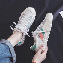 春秋12大童少女孩帆布鞋子13初中女生板鞋14中学生16运动布鞋15岁