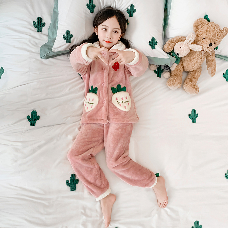 Girls coral cashmere pajamas childrens flannel thickened home wear autumn and winter childrens suit Princess cartoon