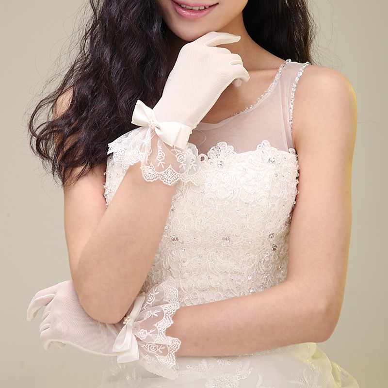 Wedding Gloves Lace 2109 new style short Korean wedding spring and autumn simple Satin Wedding Bridal Gloves