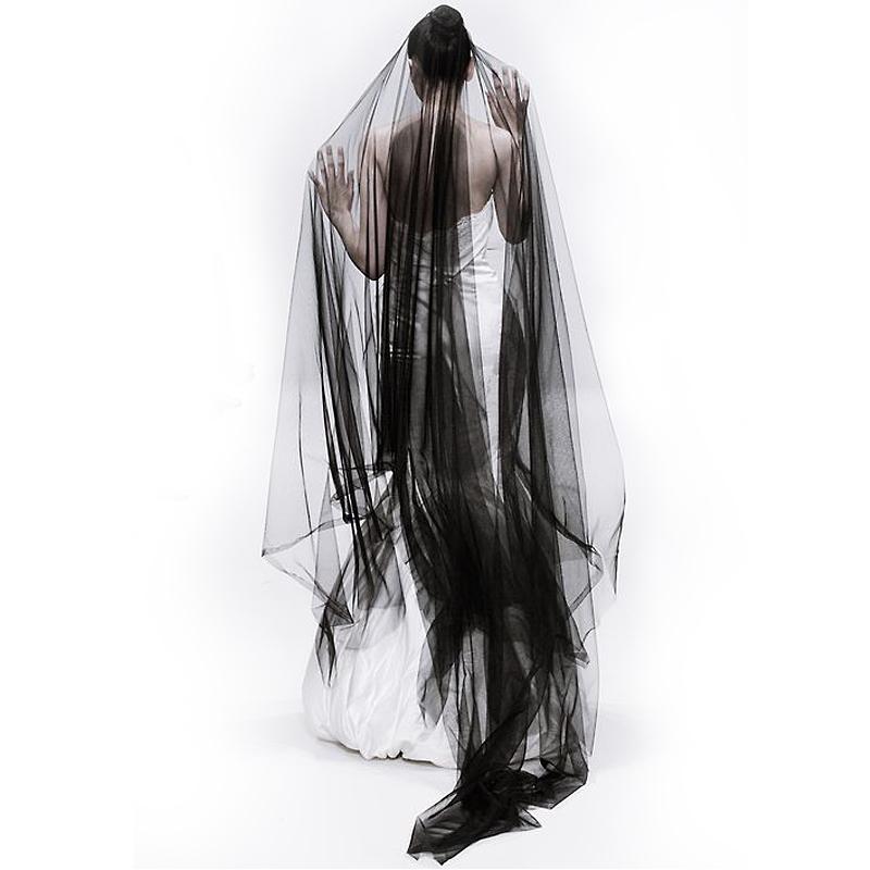 新款韩式新娘头纱女长拖尾裸纱婚纱简约头饰复古凹造型黑色头纱