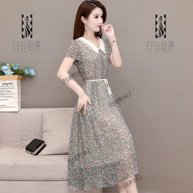 Flower doll collar dress women summer dress 2020 new style foreign style reduced age waist slim young mother skirt
