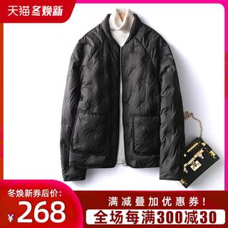 SAYI棒球羽绒服女短款2020年新款时尚轻薄款黑色大码夹克女装外套