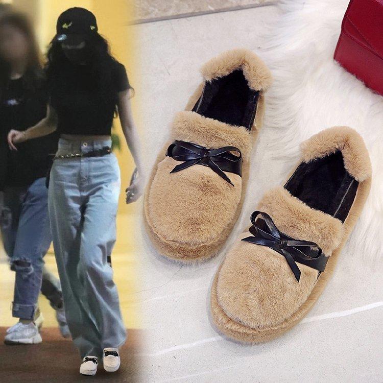 2019冬季韩版百搭时尚蝴蝶结圆头网红毛毛鞋加棉厚底保暖女鞋子